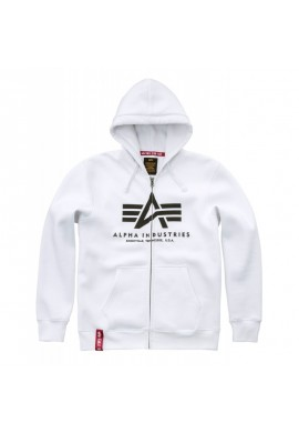 ALPHA INDUSTRIES BASIC Sweatshirt Hoody with zipper-white